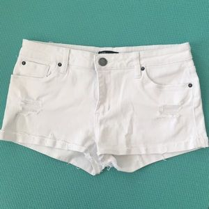 Distressed White Cut Off Shorts
